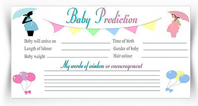 Baby Shower Prediction Cards Party Game Mum To Be Boy/Girl x 10 D1