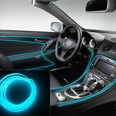 Car 2M Panel Neon Lamp Strip Decorative Atmosphere Ice Blue OLED Cold EL Light