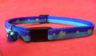 Cat Kitten Collar Reflective Adj Two Tone Blue Quick Release Safety Buckle&bell