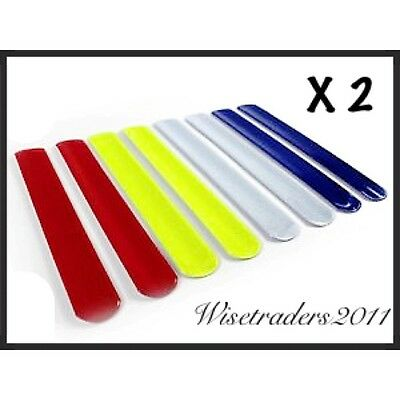 Two High Visiblity Kids Reflective Slap Snap Bands Fluorescent Safety Straps