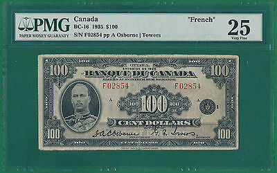 Canada, 100 Dollars 1935 (F 02854) P-53 VF PMG 25 FRENCH