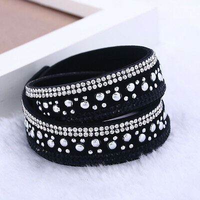 FAUX LEATHER Slake BRACELET or CHOKER Made With SWAROVSKI CRYSTALS BLACK & CLEAR