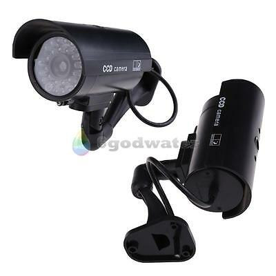 Dummy Security Camera Flashing Light Fake Infrared LED Home Surveillance Black
