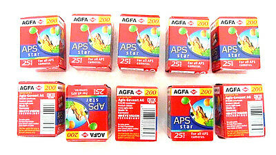 10 Rolls Agfa Aps Star 200 240-25 Exp Color Print Lomograpghy Camera Films New