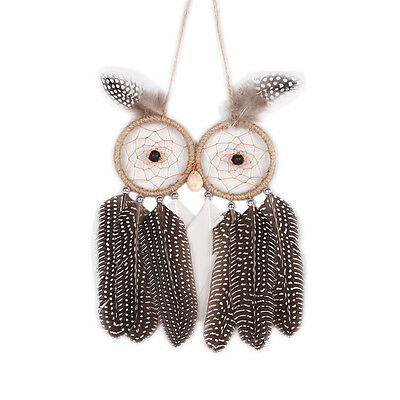 OWl Dream Catcher W/ Feather Wall Car Hanging Home Decoration Bead Ornament S5