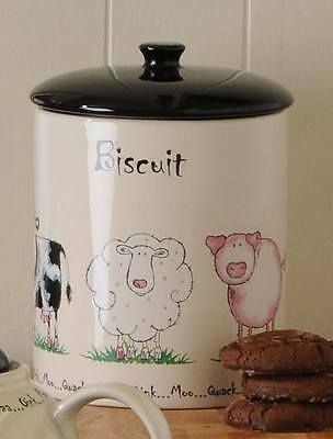 0057.064 Price and Kensington Home Farm Biscuit Jar Quack Oink Moo Baa