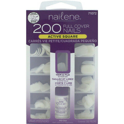 Nailene Full Cover Nails Active Short Square Trim & Size With Glue - 200