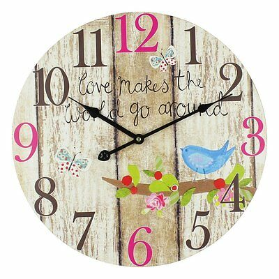 Large Vintage 40cm Rustic Colourful Style Antique LOVE WORLD Kitchen Home Clock