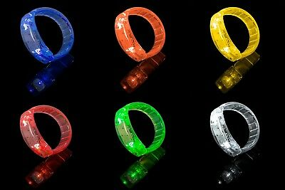 New Flashing Green Orange White Yellow Red LED Bracelet Parties Events Favours