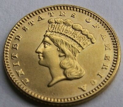 1877 $1 Gold Indian Princess Very Rare Super Low Mintage Of Only 3900 Ms Gem