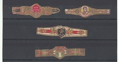 [57750] FOUR EARLY 1900's CIGAR BANDS FLOR EXTRA FINA, HABANA & GENERAL JUNOT