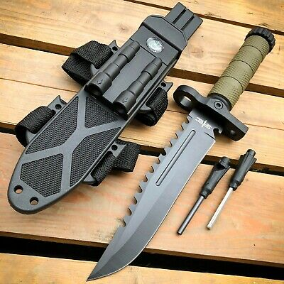 """7"""" TACTICAL SURVIVAL Skinning KNIFE Hunting Skinner Camping Fixed Blade Wood"""