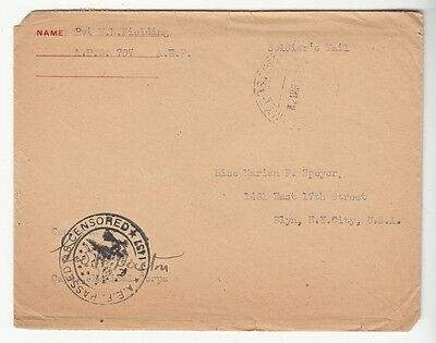 [57691] March 1919 World War I Letter From Pvt. M.l. Fielding & Posted Envelope