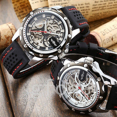 Men Automatic Mechanical Skeleton Dial Military Sport Silicone Wrist Watches
