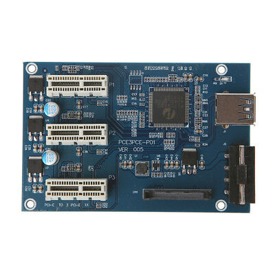 1PC PCI-e Express 1X to 3 Port 1X Switch Multiplier HUB Riser Card +USB Cable