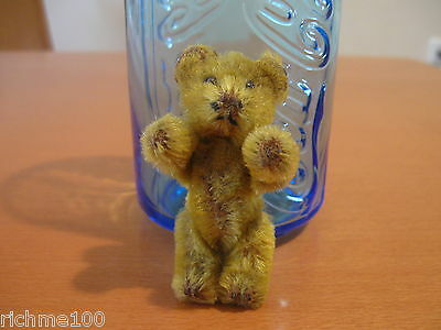 """Antique 1920's Schuco Yellow Teddy Bear Plush Doll Toy Miniature 2.5"""" Germany"""