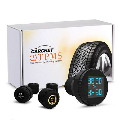 Car TPMS Tire Pressure LCD Display Monitoring System Wireless 4 External Sensors