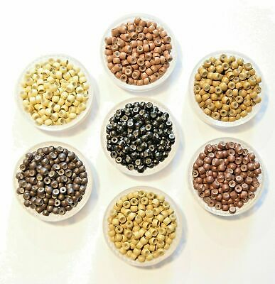 50/100/200/300/400/1000 Silicone Lined Nano Micro Rings Beads Hair Extensions UK
