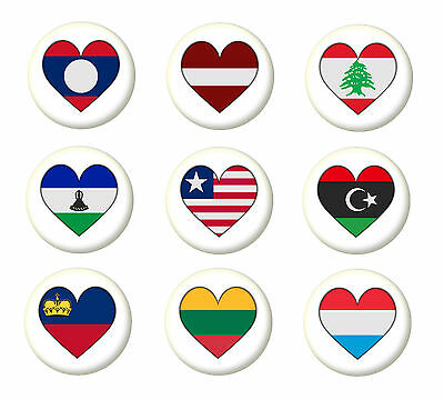 A Country Flag Heart Pin Button Badge Magnet Keyring Bottle Opener Mirror