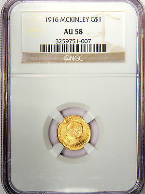 1916 $1 McKINLEY BIRTHPLACE MEMORIAL GOLD COMMEMORATIVE - NGC AU58 LOOKS UNC!