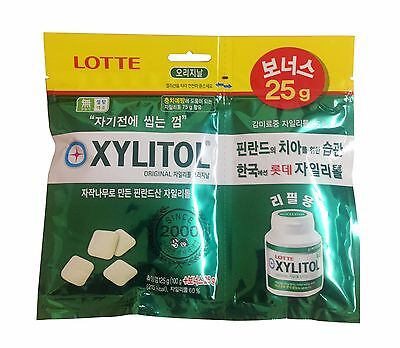 Korean Chewing gum Lotte Xylitol Sugar Free (100+25g) Made in Korea New Package