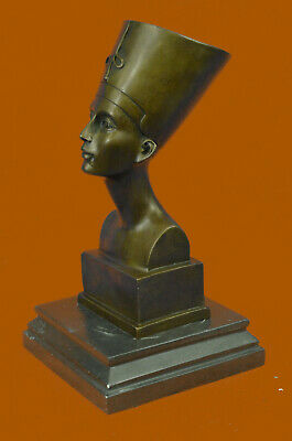 Hot Cast European Made Nefertiti Bust Bronze Masterpiece Sculpture Figurine Sale