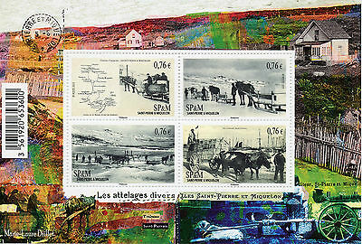 Saint Pierre & Miquelon SP&M 2015 MNH Horse Drawn Carriages in Old Days 4v M/S
