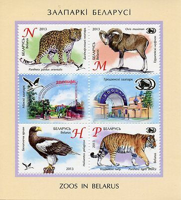 Belarus 2013 MNH Zoos in Belarus 4v M/S Fauna Animals Birds Eagles Tigers