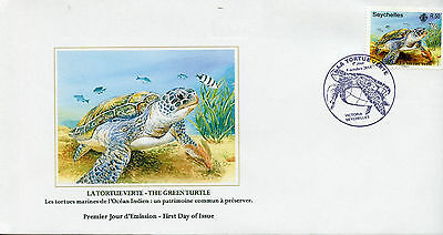Seychelles 2014 FDC Green Sea Turtle 1v Set Cover Turtles Reptiles Tortue Verte
