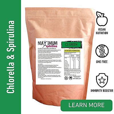 SUPER CS GREENS POWDER - Spirulina Chlorella 50/50 blend - Natural detox blend