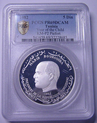 Tunisia 5 Dinars 1982 Silver Piefort PCGS PR69DCAM Year of the Child Mtg:96 only