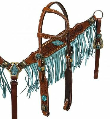 TURQUOISE / TEAL Tooled Argentina Leather Fringe Headstall & Breastcollar SET