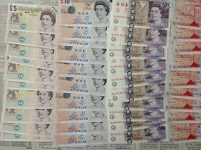 Lots of 40 Pieces of China Banktells' British Pounds Training Banknotes