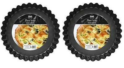 """2 x Large Non Stick Flan Baking Tray Fluted Edge 10"""" 25.5cm x 3.5cm Approx"""