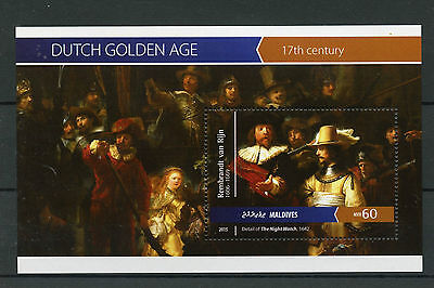Maldives 2015 MNH Art Dutch Golden Age 1v S/S Paintings Rembrandt Night Watch