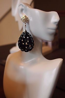 Beautiful hand carved black onyx earrings with .925 Sterling Silver post