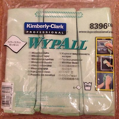 8396 Wypall Microfibre Cleaning Cloths for Dry or Damp Multisurface Use Green x6