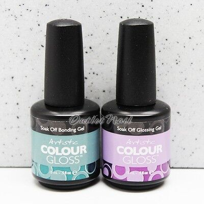 Artistic Soak Off UV LED Gel Color BASE or TOP or BASE + TOP Duo Set 15ml 0.5oz
