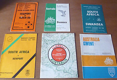 Collection of Touring Programmes (x6) to Wales, 1969-74.