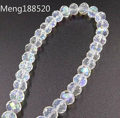100Pcs White AB Faceted Glass Crystal Rondelle Beads.Spacer Beads 4/6/8mm