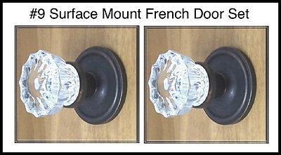 Single Surface French Door Dummy Crystal Knob-Antique Reproduction-Rubbed Bronze