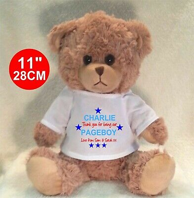 """Personalised Brown Teddy Bear 25Cm/10"""" Sitting  Little Brother Birthday Gifts"""