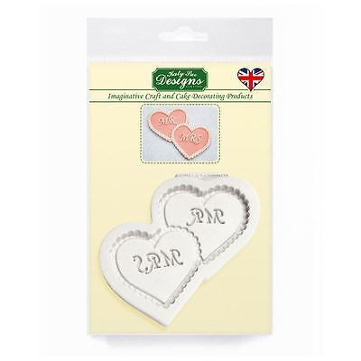 Cupcake Fondant Icing Embellishment Topper Mould: Mr & Mrs Intertwined Hearts