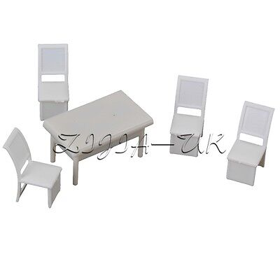 5 Sets 1:50 Scale Miniature Dining Room Table Chair for Dollhouse Furniture