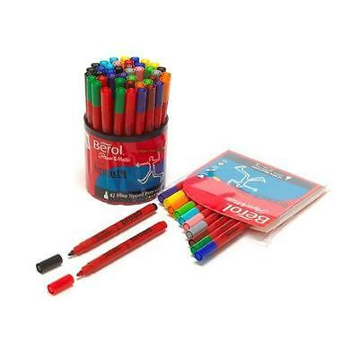 Berol Colour Markers Assorted, Chisel Tip - Pack of 12 Pack of twelve