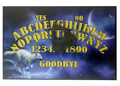 A4 Wooden Mystic Wolf Ouija Board & Planchette Full Moon, Spritiual, Ghost Hunt