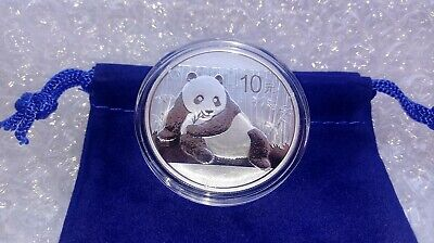2016 China Panda Coin .999 Fine Silver with Capsule and Coin Pouch