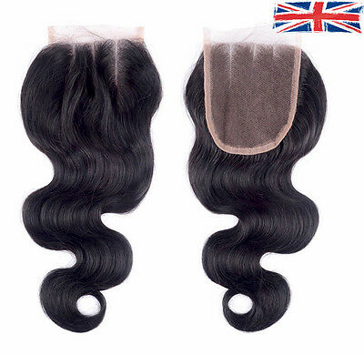 3 Way Hair Parting Lace Top Closures Brazilian Remy Human Hair 6A Body Wave 4x4""