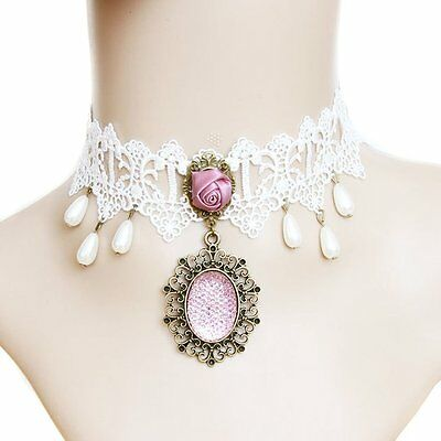 White Lace Fake Collar Necklace Women 'S Clothing Accessories HE