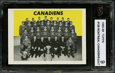 1965-66 Topps~#126~Montreal Canadiens Team Card~Stanley Cup Champs~Ksa 9 Mint